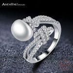 ANFASNI High Quality Pearl 925 Sterling Silver Rings For Women Fashion Elegant Zirconia <b>Wedding</b> Engagement <b>Jewelry</b> CGSRI0042-B