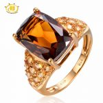 Hutang Solid 925 Sterling <b>Silver</b> 7.47ct Natural Gemstone Smoky Quartz Citrine Wedding Ring Fine Fashion <b>Jewelry</b> For Women's Gift