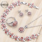 Round Bridal <b>Silver</b> 925 Jewelry Sets Earrings For Women Jewelry With Red Cubic Ziconia Necklaces & Pendants Ring <b>Bracelet</b> Set