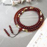 Yoowei 108 Beads Natural Amber Bracelets for Yoga Buddha Mala Beads Round Amber Prayer Bracelet Meditation <b>Jewelry</b> Ambre pulsera