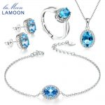LAMOON S925 Sterling <b>Silver</b> Fine Jewelry Natural Topaz Jewelry Sets for Women Oval Blue Gemstone Wedding Accessories Set V039-1