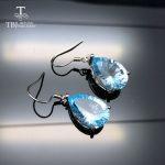 TBJ,Water Drop 13ct Genuine Sky blue topaz concave cut Dangle hook <b>Earrings</b> Pure 925 Sterling <b>Silver</b> Fine Jewelry For Women
