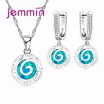 Jemmin Retro Style Pendants Necklaces Set For Woman Fine 925 Sterling <b>Silver</b> Blue Fire Opal Engagement Anniversary Jewellery Set