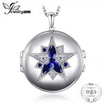 JewelryPalace 1.3ct Created Sapphire Pocket Pendant Necklace 925 <b>Sterling</b> <b>Silver</b> 18 Inches Chain Can Put Photos Necklace <b>Jewelry</b>