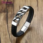 Real Leather Bracelets & Bangles for Men Vintage Titanium Steel Link Chain Buckle Fashion <b>Jewelry</b> Male Gift Retro <b>Accessories</b>