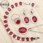 Costume Silver 925 Bridal <b>Jewelry</b> Sets Women Red Stones White Zircon Earrings/Rings/Pendant/Necklace/Bracelets Jewelery Gift Box