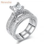 Newshe Genuine 925 Sterling Silver <b>Wedding</b> Rings For Women 1.25 Ct Princess Cut AAA CZ Fashion <b>Jewelry</b> Engagement Ring Set
