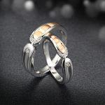 Two-Tone 18K Gold Diamond Wedding Ring Couple Set 0.06+0.04ct Diamond <b>Jewelry</b> <b>Handmade</b> Engagement Band