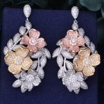 GODKI 66mm Luxury Floral Flower Leaf Leaves Full Mirco Paved Microl Zirconia Naija <b>Wedding</b> Earring Fashion <b>Jewelry</b>