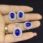 Natural lapis lazuli gem jewelry sets natural gemstone ring Pendant <b>Earrings</b> 925 <b>silver</b> personality Elegant Luxury Flowers twist