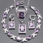 <b>Silver</b> 925 Bridal Purple Zirconia Jewelry Sets Stone Earrings <b>Bracelet</b> Pendant Ring Necklace For Women Set Jewellery Gift Box