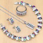 925 Silver <b>Jewelry</b> Mystic Rainbow Fire Imitation Stones <b>Jewelry</b> Sets Women Wedding Earrings/Pendant/Necklace/Rings/Bracelet T240