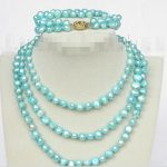 Prett Lovely Women's Wedding length necklace 49″ 8-9mm baroque sky-blue pearls necklace 2row bracelet set