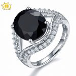 Hutang Engagement Ring 6.27ct Natural Gemstone Black Spinel Solid 925 Sterling <b>Silver</b> Fine Fashion Stone <b>Jewelry</b> For Women Gift