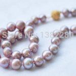Wholesale!8-9mm Purple pearl necklace 18inch DIY handmade women fashion <b>jewelry</b> <b>making</b> design gfit