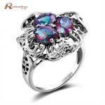 Korean <b>Handmade</b> Wedding Ring Classic Fire Mystic Rainbow Topaz CZ Victoria Stone 925 Sterling Silver Ring Women Vintage <b>Jewelry</b>