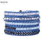 KELITCH <b>Jewelry</b> Bohemia Charm Bright Crystal Beaded <b>Handmade</b> Beach Bracelets with Card Box Packs Customized LOGO Design