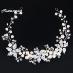 TUANMING Crystal Pearl bridal headbands flower Women wedding Headband bride tiaras hair Accessories hair <b>Jewelry</b> Bridesmaids New