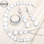 925 Sterling Silver Women <b>Jewelry</b> Sets White Zircon Earrings With Stones Necklace Pendant Earrings Rings Bracelets Set Gift Box