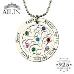 Birthstone Family Tree Necklace Personalized Mother Necklace Engraved Our Family Name Necklace <b>Silver</b> Nameplate <b>Jewelry</b>