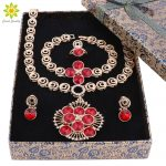Wedding Gold Color <b>Jewelry</b> Sets For Women <b>Necklace</b> Earrings Bracelet Ring Red/Blue Crystal <b>Jewelry</b> Sets+Gift Boxes