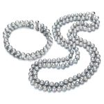 SNH 7mm potato AA grey color Genuine freshwater pearl necklace bracelet 925 <b>silver</b> bridal <b>jewelry</b> set free shipping
