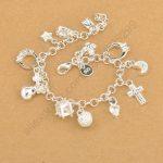 JEMMIN Exquisite Top Quality 925 Sterling <b>Silver</b> Charming <b>Bracelet</b> Pendants Nice Cross Moon Heart Clock Jewelry For Women Girls