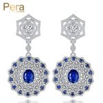 Pera Elegant Design <b>Jewelry</b> Costume Accessories Russian Women Big <b>Wedding</b> Party Round Long Drop Earrings With Blue Stone E146