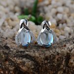 FNJ 925 <b>Silver</b> Topaz Earrings for Women <b>Jewelry</b> Blue Stone 100% Original Pure S925 <b>Sterling</b> <b>Silver</b> Stud Earring