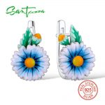 SANTUZZA <b>Silver</b> Flower Earrings For Women 925 <b>Sterling</b> <b>Silver</b> Stud Earrings <b>Silver</b> 925 Cubic Zirconia brincos <b>Jewelry</b> Enamel