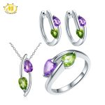 Hutang Cute Natural Peridot & Amethyst Jewelry Sets for Women Solid 925 Sterling <b>Silver</b> Gemstone Jewelry Pendant Ring <b>Earrings</b>