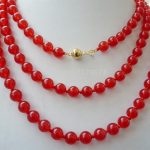 """Charming natural 8mm Hot fashion red Chalcedony necklace 52 """"of Gold-color Clasp Fashion <b>Jewelry</b> <b>Making</b> Design Girl Gifts W0355"""