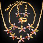Zirconia Crystal Flower Jewelry <b>Bracelet</b> Earrings Ring Necklace Set Women Gold/<b>Silver</b> Color Wedding Jewelry Set NEHR252