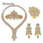 NEWBARK Vintage Wedding Brides <b>Jewelry</b> Sets Paved Cubic Zirconia Earring <b>Necklace</b> Bracelet <b>Necklaces</b> 4PCS Set With Gift Box