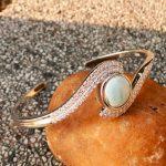 DJ CH Women Luxury Jewelry Bangle Made of AAA Blue Larimar Gemstone and 925 Sterling <b>Silver</b>, Nice <b>Bracelet</b> for her