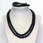 <b>Handmade</b> Pearl <b>Jewelry</b> Set Black Rice Freshwater Pearl Necklace Bracelet 7-8MM Wedding Birthday Pearl <b>Jewelry</b>
