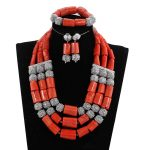 Superior Real Coral Beads African Jewelry Sets for Women Indian <b>Silver</b> Beaded Jewelry Set Nigerian Coral Necklace sets PJW305