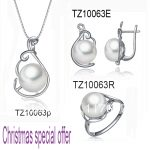 Sinya jewelry set 925 sterling <b>silver</b> pearl ring <b>earring</b> necklace fine jewellery set platinum plated hot sale for women