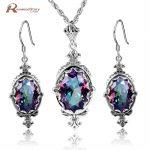 Cheap Wedding Jewelry Set Mystic Rainbow Crystal Soild 925 Sterling <b>Silver</b> Jewelry Sets Sliver <b>Earrings</b>/Pendant Vintage Style