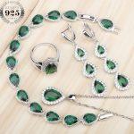 Wedding Drop Green Zircon 925 Sterling <b>Silver</b> Costume Jewelry Sets Women Earrings Rings With Stones Necklace <b>Bracelets</b> Gift Box