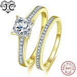 J.C Eternity Love Fine <b>Jewelry</b> White Topaz Yellow Gold Solid 925 Sterling <b>Silver</b> Ring Size 6 7 8 9 For Women Wedding Bride Ring