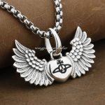 925 Sterling <b>Silver</b> Angel Wing Lovely Heart Mens Biker Rocker Pendant 9F009(<b>Necklace</b> 24inch)