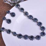 Blue Rhinestone <b>Jewelry</b> Sets For Women Large Wedding <b>Necklace</b> Earing bijuterias Set colar Bridal Jewellery Set Bridal <b>Necklace</b>