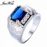 JUNXIN New Brand Fashion Men Blue White Zircon Ring Luxury Big Square Finger Ring Vintage <b>Wedding</b> <b>Jewelry</b> Father's Day Gifts