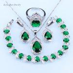 L&B Pretty Water Drop Green Imitation Emerald <b>silver</b> 925 Jewelry Sets <b>Bracelet</b>/Pendant/Necklace/Earrings/Ring
