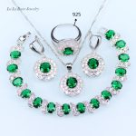 L&B White Zircon Green created Emerald <b>silver</b> 925 Logo Jewelry Sets Earrings/Pendant/Necklace/Ring/<b>Bracelets</b> for women