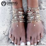 OMENG Vintage Multilayer Sequin Tassel Anklet Foot <b>Jewelry</b> For Women <b>Antique</b> Silver Plated Coin Anklet Chain <b>Jewelry</b> OJL027