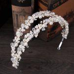 TUANMING White Pearl Crystal Bridal Hairbands Tiaras Wedding Crown Headband For Bride Hair <b>Jewelry</b> Wedding Accessories Hair Wear