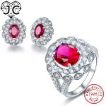 J.C Women Lady Oval Sparkling Luxury Ruby White Topaz Ring & <b>Earring</b> Genuine Solid 925 Standard Sterling <b>Silver</b> Jewelry Set
