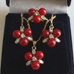 Prett Lovely Women's Wedding HDT558 shipping>>>>>>Charming 8mm Pink Shell Pearl Earring Pendant Ring #7/8/9 <b>Jewelry</b> Set